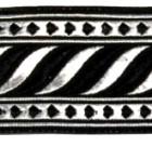 10m Brokat Borte Webband 35mm breit Farbe: Schwarz-Schwarz-Lurex-Silber