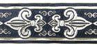 10m Französische Lilie Borte 25mm breit Dunkelblau-Silber
