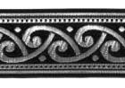 10m Mittelalter Borte Webband 35mm Farbe: Schwarz-Silber