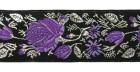 10m Rosenranken 35mm breit Wiesn Farbe: Schwarz-Lila-Lurexsilber