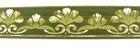 10m Mittelalter Borte Webband 35mm breit Farbe: Hellgrün-Gold