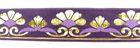 10m Mittelalter Borte Webband 35mm breit Farbe: Lila-Gold