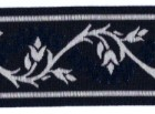 10m Borte Webband 35mm breit Farbe: Schwarz-Dunkelblau-Grau
