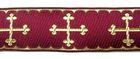 10m KreuzBorte Webband 20mm breit Farbe: Bordeaux-Gold