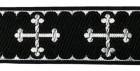 10m KreuzBorte Webband 35mm breit Farbe: Schwarz-Silber