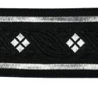10m MittelalterBorte Webband 35mm breit Farbe: Schwarz-Silber