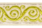 10m Brokat Borte Webband 35mm breit Farbe: Weiss-Grün-Silber