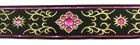 10m Brokat Borte Webband 35mm Farbe: Schwarz-Pink-Lurexgold