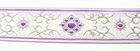 10m Brokat Borte Webband 35mm Farbe: Weiss-Lila-Lurexsilber