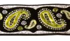 10m Brokat Borte Webband 35mm Farbe: Schwarz-Grün-Lurexsilber