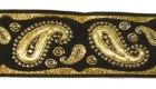 10m Brokat Borte Webband 35mm breit Farbe: Schwarz-Lurexgold