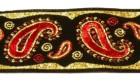 10m Brokat Borte Webband 35mm Farbe: Schwarz-Rot-Lurexgold
