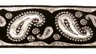 10m Brokat Borte Webband 35mm breit Farbe: Schwarz-Lurexsilber