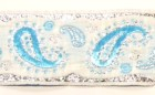 10m Brokat Borte Webband 35mm Farbe: Weiss-Blau-Lurexsilber