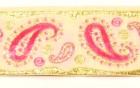 10m Brokat Borte Webband 35mm breit Farbe: Weiss-Pink-Lurexgold