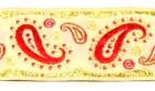 10m Brokat Borte Webband 35mm breit Farbe: Weiss-Rot-Lurexgold