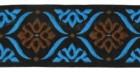 10m Borte Webband 35mm breit Farbe: Schwarz-Türkis-Braun