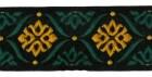 10m Borte Webband 35mm breit Farbe: Schwarz-Dunkelgrün-Ocker
