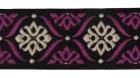 10m Borte Webband 35mm breit Farbe: Schwarz-Lila-Beige