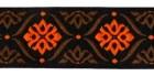10m Borte Webband 35mm breit Farbe: Schwarz-Braun-Orange