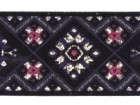 10m Borte Webband 35mm breit Farbe: Schwarz-Pink-Blau-Silber