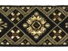 10m Borte Webband 35mm breit Farbe: Schwarz-Braun-Gold
