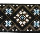 10m Borte Webband 35mm breit Farbe: Schwarz-Braun-Blau-Silber