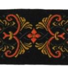 10m Borte Webband 35mm breit Farbe: Schwarz-Orange-Grün-Ocker