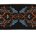 10m Borte Webband 35mm breit Farbe: Schwarz-Braun-Orange-Hellblau