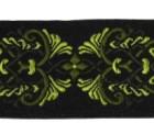 10m Borte Webband 35mm breit Farbe: Schwarz-Grün-Hellgrün