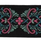 10m Borte Webband 35mm breit Farbe: Schwarz-Türkis-Pink