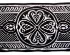 10m Mittelalter Borte Webband 50mm breit Farbe: Schwarz-Silber