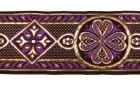 10m Mittelalter Borte Webband 50mm breit Farbe: Lila-Gold