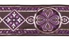 10m Mittelalter Borte Webband 50mm breit Farbe: Lila-Silber