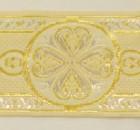10m Mittelalter Borte Webband 50mm breit Farbe: Weiss-Gold