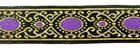 10m Brokat-Borte Webband 20mm breit Farbe: Lurexgold-Lila