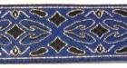 10m Brokat Borte Webband 20mm breit Farbe: Blau-Schwarz-Silber