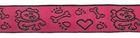 10m Borten Webband Hundemotiv Applikation 16mm breit Farbe: Fuchsia-Schwarz