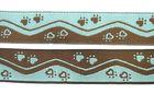 10m Borten Webband Hundemotiv Applikation 16mm breit Farbe: Türkis-Braun