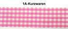 50m Karo-Borte Webband Wiesn 27mm breit Farbe: Pink-Weiss-Silber