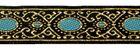 10m Brokat-Borte Webband 20mm breit Farbe: Lurexgold-Hellblau höhere Qualität