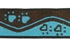 10m Borten Webband Hundemotiv Applikation 16mm breit Farbe: Blau-Braun