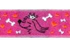 10m Hunde-Borte Webband 20mm breit Farbe: Pink-Orange-Weiss-Schwarz