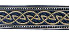 10m Keltischer Knoten weit Webband Borte 33mm breit Farbe: Blau-Gold