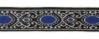 10m MittelalterBorte Webband 20mm breit Farbe: Lurexsilber-Blau