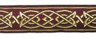 10m MittelalterBorte Webband 25mm breit Farbe: Bordeaux-Gold