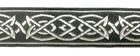 10m MittelalterBorte Webband 25mm breit Farbe: Grau-Silber