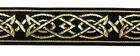 10m MittelalterBorte Webband 25mm breit Farbe: Schwarz-Gold