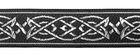 10m MittelalterBorte Webband 16mm breit Farbe: Schwarz-Silber