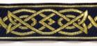10m Mittelalterborte 25mm breit Farbe: Dunkelblau-Gold